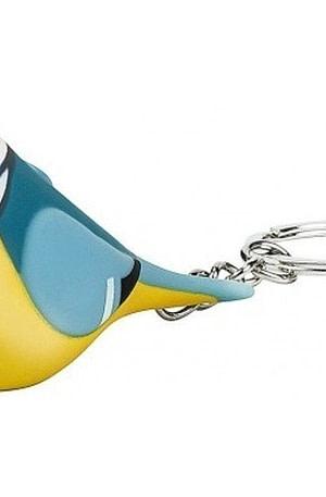 Moses sleutelhanger vogel met licht en geluid 6 cm blauw