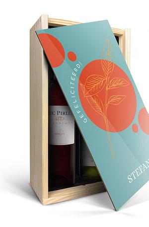 Wijnpakket in bedrukte kist - Luc Pirlet - Merlot en Chardonnay