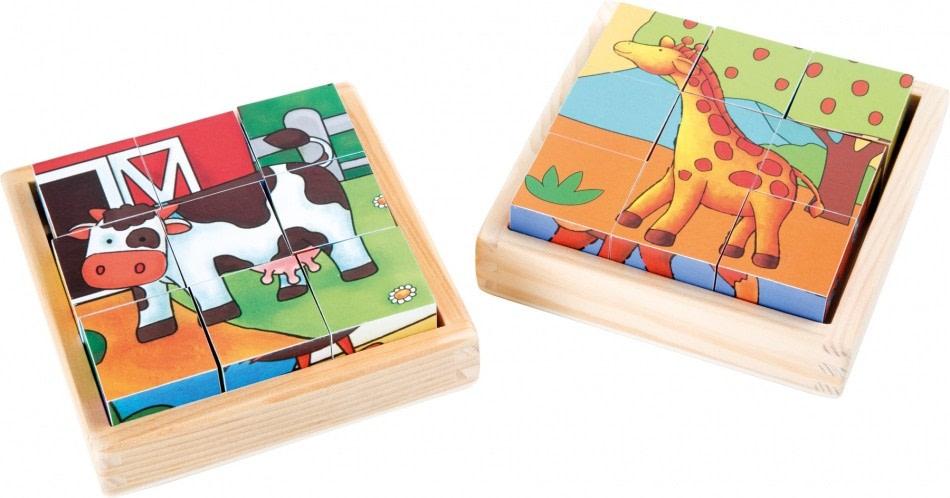 Small Foot Houten blokkenpuzzel boerderij/dierentuin 18 delig