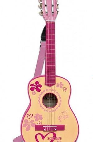 Bontempi houten gitaar met 6 snaren en schouderband 75 cm roze