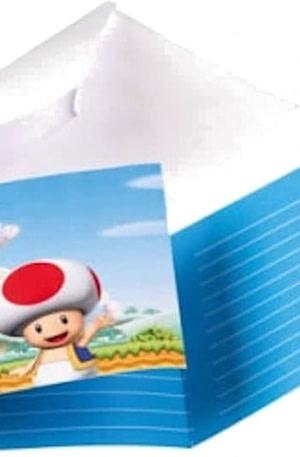 Nintendo uitnodigingen met envelop Super Mario 8 stuks 14 cm