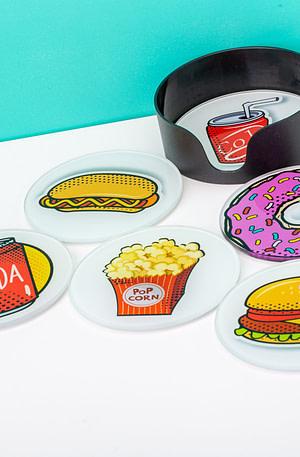 Glazen Onderzetters (Set Van 6) - Fastfood - Balvi