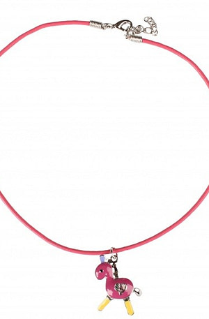Red Horse ketting pony roze 3 cm