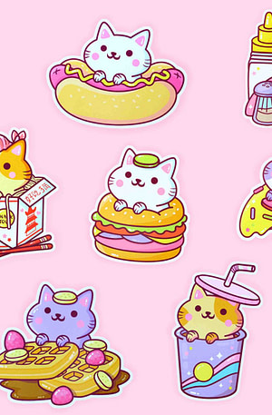 Bulck | De nr. 1 cadeau website | We Are Extinct YumYum Cats sticker set - 3