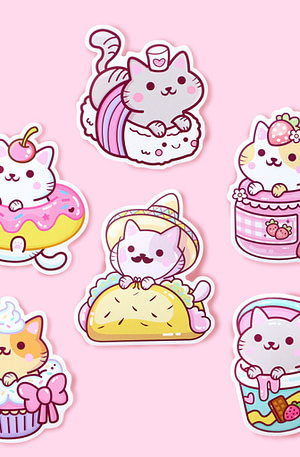 Bulck | De nr. 1 cadeau website | We Are Extinct YumYum Cats sticker set - 1