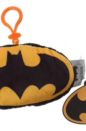 DC Comics Batman logo met clip 14 cm pluche zwart/geel
