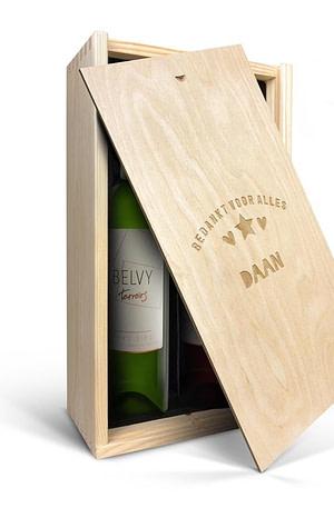 Wijnpakket in gegraveerde kist - Belvy - Wit en rood