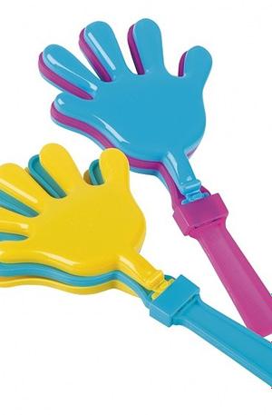 Boland klapperhanden 2 stuks paars/geel/blauw