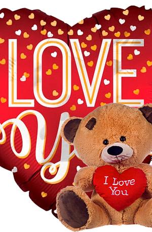 love you mat rood+ beertje met hart