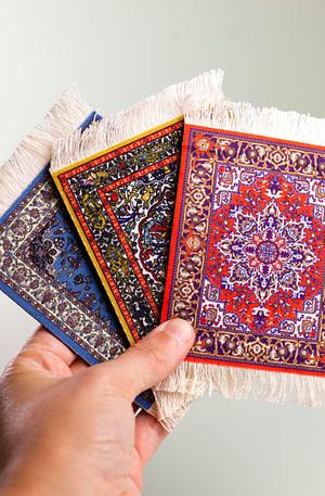 Perzisch Tapijt Onderzetters (Set Van 4) - Invotis