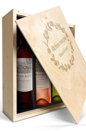 Wijnpakket in gegraveerde kist - Oude Kaap - Wit
