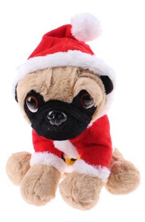Kamparo hondenknuffel kerstpak 20 cm rood