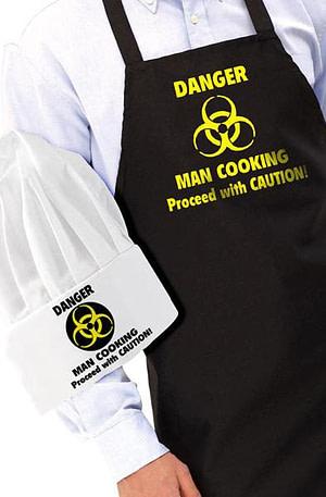 Danger: Man Cooking Schort En Koksmuts