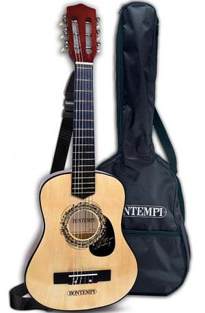 Bontempi houten gitaar met 6 snaren schouderband en tas 75 cm